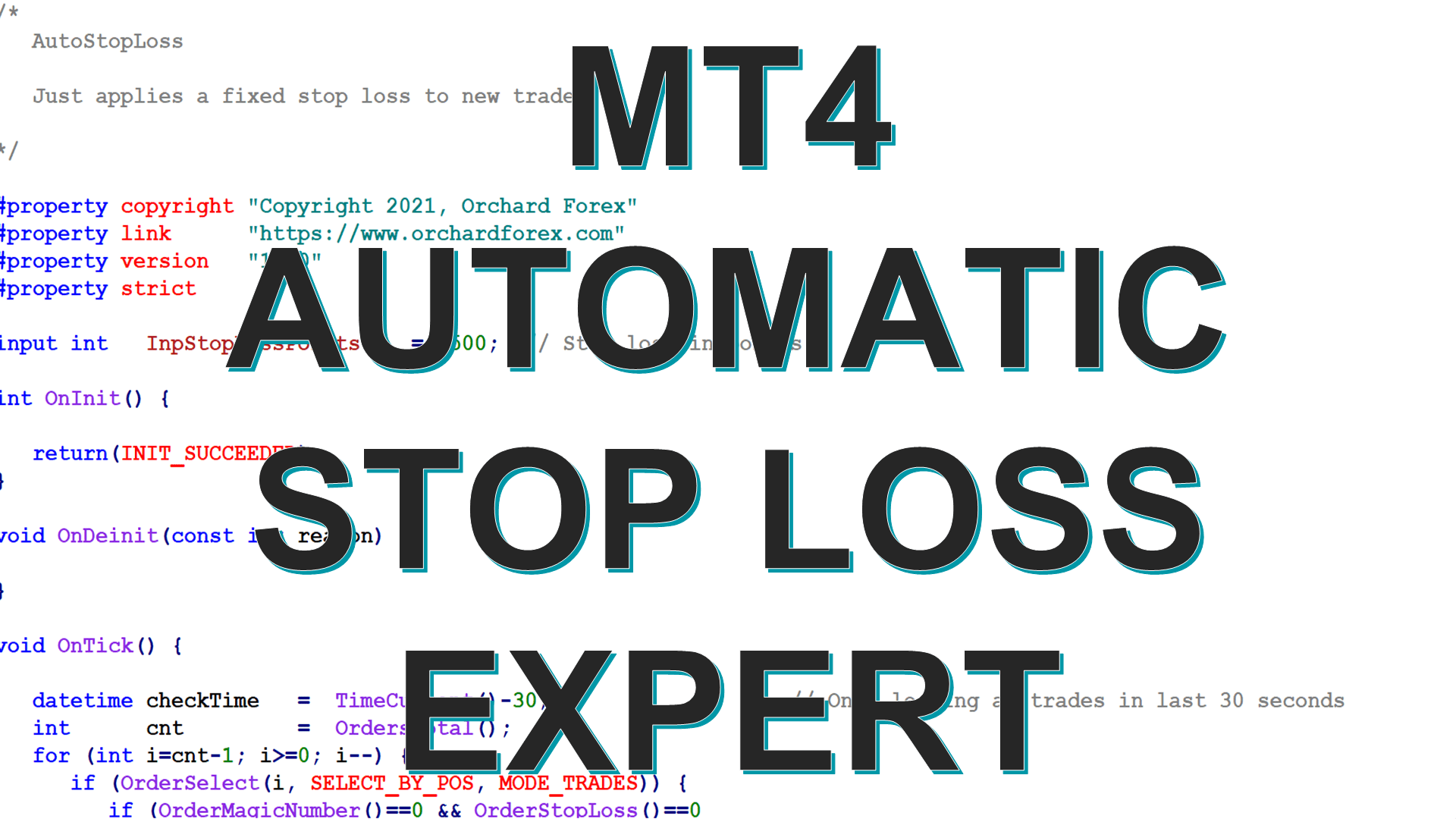 MT4 Expert to apply an Automatic Stop Loss